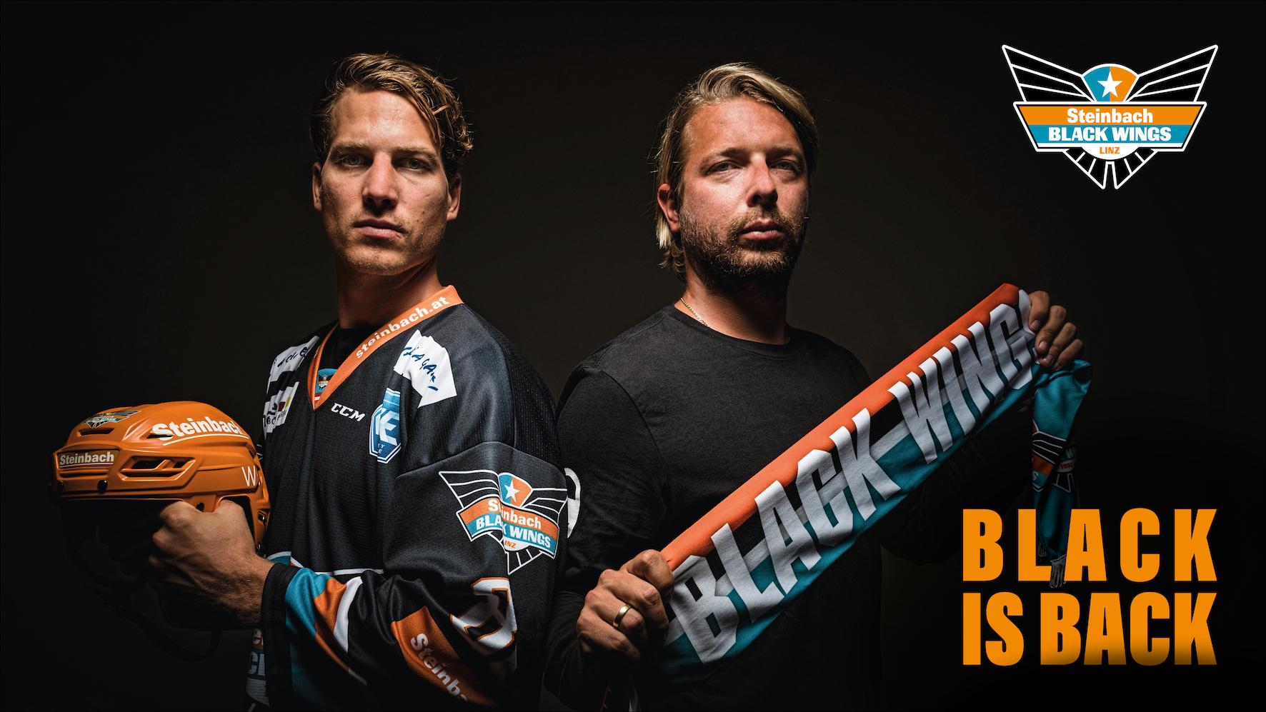 "v.l.n.r. Rafael Rotter (Steinbach Black Wings Linz), Brian Lebler (Steinbach Black Wings Linz), Chris Rumble (Steinbach Black Wings Linz) Spielerpräsentation ""Black is Back"" am 31.8."